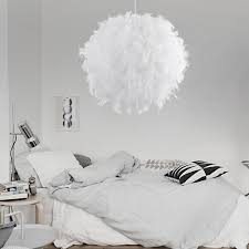 romantic creative feather led e27 bedroom pendant lamp wedding