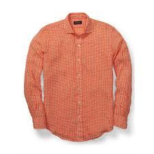 polo ralph lauren estate gingham linen shirt in orange for men lyst