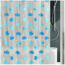 Gray And Teal Shower Curtain Stylish Blue Color Animal Print Fish Pattern Peva Shower Curtain