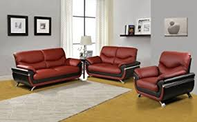 Black Leather Sofa Set Amazon Com Beverly Furniture 3piece Red Black Contempraray Faux