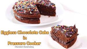 eggless chocolate cake in pressure cooker rich u0026 moist cake in