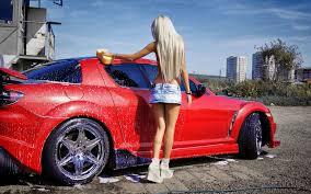 a mazda blonde washing a mazda rx 8 walldevil