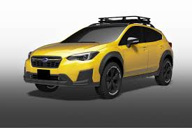 yellow subaru wagon subaru showing customized impreza xv outback concepts in tokyo