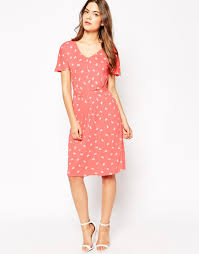 image 1 of french connection bow print tea dress with belted waist
