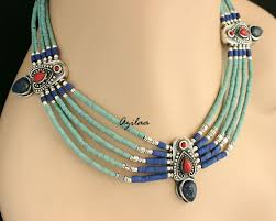 turquoise necklace earring set images Ethnic turquoise lapis coral gemstone artisan necklace earring set jpg