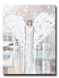 original abstract angel painting guardian angel neutral wall art