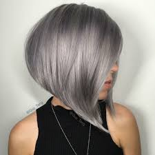 sleek angled bob grey hair color metallic hair by guy tang