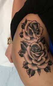 image result for flower thigh pieces tattoo colour tattoo