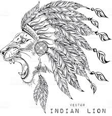 lion in the indian roach indian feather headdress of eagle stock