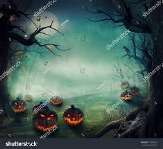 halloween design forest pumpkins horror background stock photo