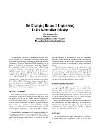 the changing nature of engineering in the automotive industry