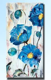 jyj art blue color flower canvas wall art picture handpainted