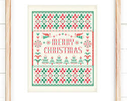 christmas cross stitch pattern merry christmas deer