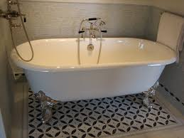 clawfoot tub bathroom ideas love the idea of using a painted cement tile pattern just around