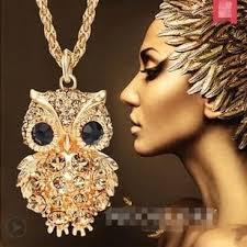 long gold owl necklace images 18k gold owl long chain necklace blue lion jewels jpg
