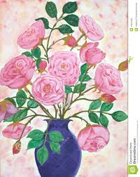 Hand Painted Vase Hand Painted Vase Of Vintage French Roses Royalty Free Stock