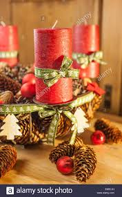 advent wreath with red candles in country style stock photo