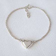 sterling heart bracelet images Sterling silver puffed heart bracelet by mia belle jpg