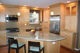 granite countertop cedar wood cabinets brick pattern backsplash