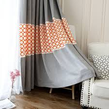 Geometric Orange Curtains Solid Extra Wide Modern Geometric Curtains