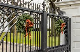 Outdoor Christmas Wreaths by Free Images Fence Decoration Metal Wreath Product Iron