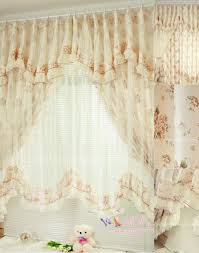 narrow window curtains with beige print artificial fiber