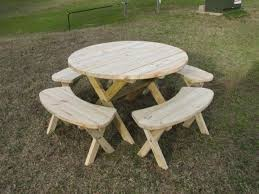 Plans For Picnic Table With Attached Benches by The 25 Best Round Picnic Table Ideas On Pinterest Picnic Tables
