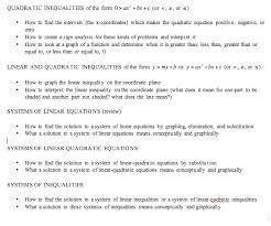 quadratic inequalities self paced worksheets trigonometry