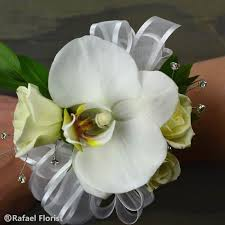 wrist corsage wrist corsage of white phalaenopsis orchid and white spray roses