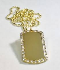 custom dog tag necklace gold tone plated cz bling iced out custom dog tag necklace ebay