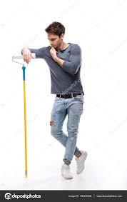 paint man man holding paint roller stock photo dmitrypoch 150422424
