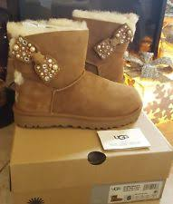 ugg bailey bow sale size 7 ugg mini bailey bow brilliant size 7 swarovski pearl bling boots