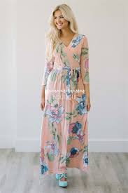 peach floral wrap summer maxi modest dress best and affordable
