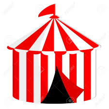 Red White Striped Flag Red And White Striped Circus Tent With Flag Vector Icon Isolated