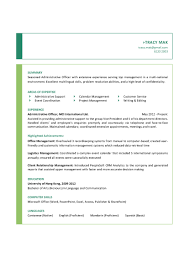 Resume Examples For Administrative Assistants sample resume administrative officer resume for your job application