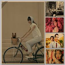wall stickers bicycle promotion shop for promotional vintage paper retro classic movie poster audrey hepburn riding bicycle wall stickers