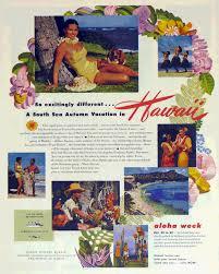 hawaii travel bureau 1950 vintage hawaii aloha week advertisement