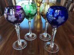 Crystal Gifts Stemware Vases Rare Colors European Set 4 Ajka Marsala Bohemian Crystal Cut To Clear Tall Wine Hock