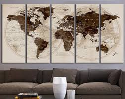 Map Home Decor Travel World Map Etsy