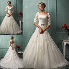 wedding dress lace back and sleeves boat neck a line 3 4 sleeve wedding dress lace open back