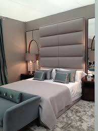 mirrored headboard bedroom contemporary with bed cushions bedside