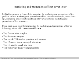 marketing and promotions officer cover letter