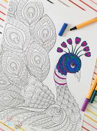 free coloring page peacock easy crafts 101