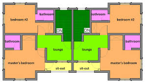 in apartment house plans residential building designs two bedroom semi detached one storey