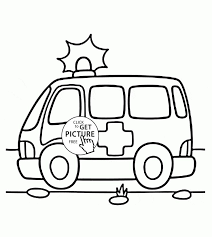 cute emergency ambulance car coloring page for kids
