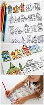 houses coloring page dabbles u0026 babbles