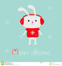 cute rabbit in red pullover with snowflake headphone hat candy