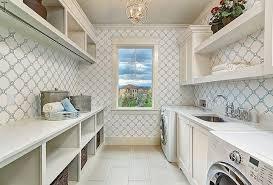 blue quatrefoil wallpaper laundry room galley style laundry room with blue quatrefoil