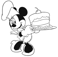 minnie mouse holding a birthday cake color sheet for kids