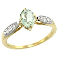 green amethyst engagement ring 10k yellow gold diamond jewelry color gemstone rings green amethyst